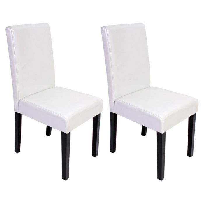 lot de 2 chaises de salle manger littau en pu coloris blanc pattes fonc es achat vente. Black Bedroom Furniture Sets. Home Design Ideas