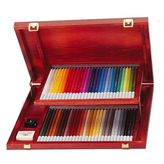 CRAYON DE COULEUR STABILO CarbOthello - Coffret bois - lot  60 crayo