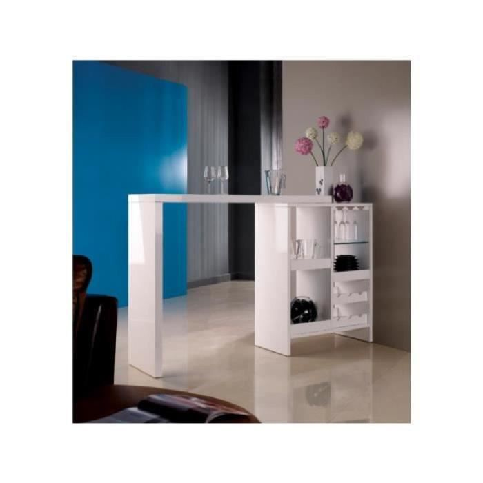 Good meuble de bar extensible fizz ii mdf laqu blanc with for Meuble bar comptoir conforama