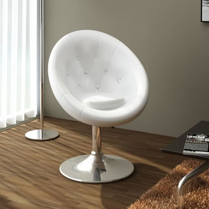 fauteuil r tro capitonn blanc pied tulipe chrom achat vente tabouret chrome acier cdiscount. Black Bedroom Furniture Sets. Home Design Ideas