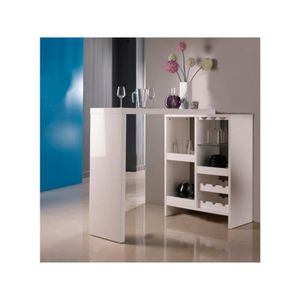 bar blanc laque achat vente bar blanc laque pas cher cdiscount. Black Bedroom Furniture Sets. Home Design Ideas