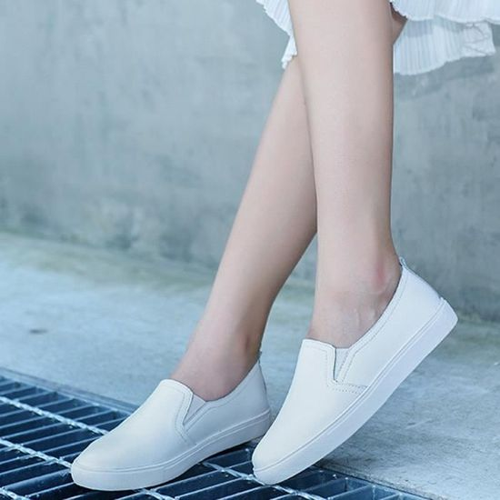 Femmes Leather Fashion Ballet Flats Shoes Slip On  Loafers Boat Shoes Moccasins  On blanc_XZ*3459 Blanc Blanc - Achat / Vente slip-on b96120