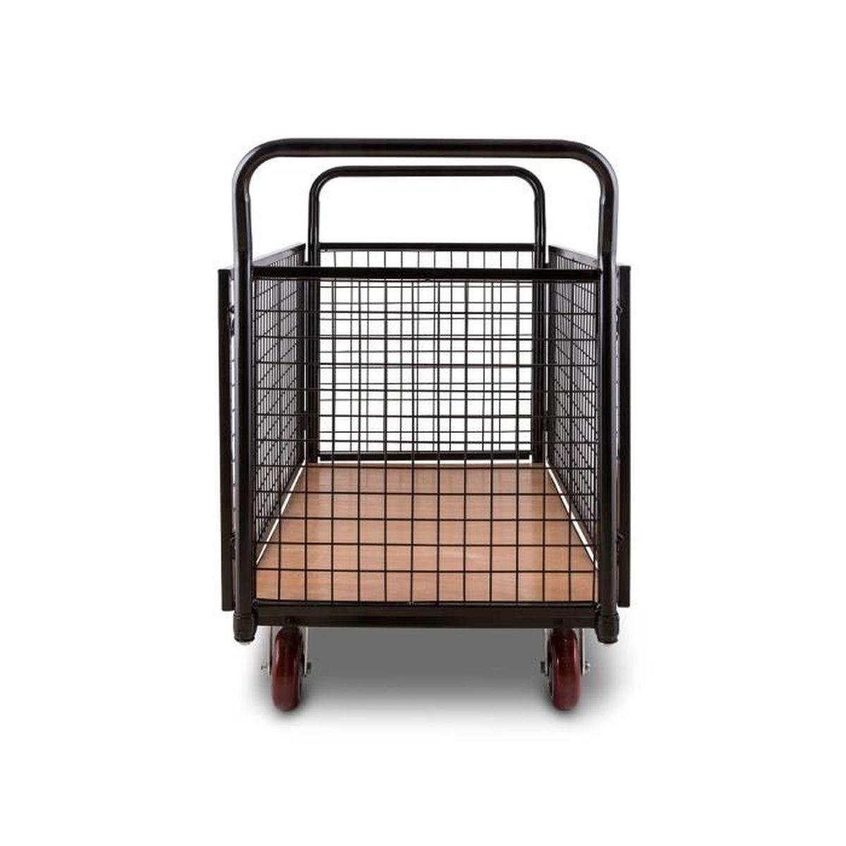 Max. 500kg, Cadre en Tubes dacier de 3,8 cm de diam/ètre, 4 Roues en Caoutchouc Dur Fixes /& pivotantes Waldbeck Loadster Chariot grillag/é de manutention