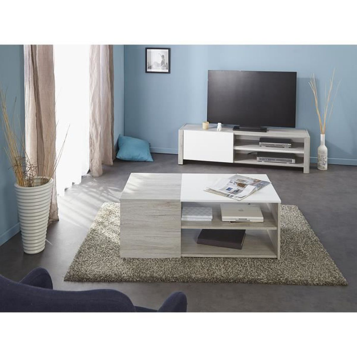 sph re meuble tv table basse gris achat vente. Black Bedroom Furniture Sets. Home Design Ideas