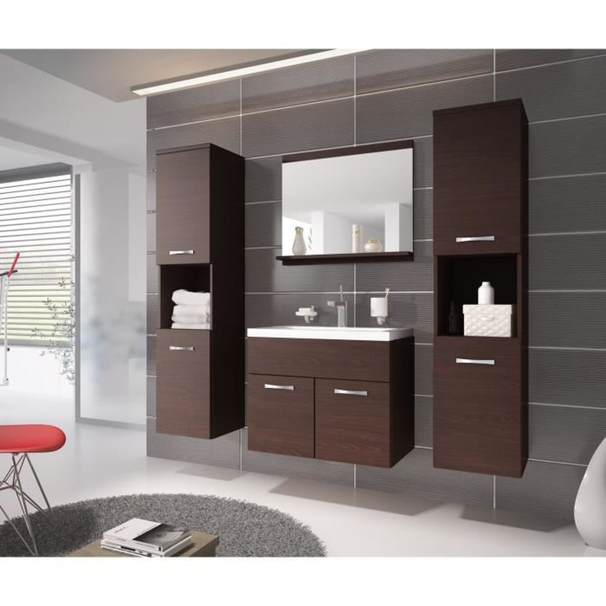 meuble de salle de bain de montr al xl 60x35cm bassin en bois ch ne fonc weng armoire de. Black Bedroom Furniture Sets. Home Design Ideas
