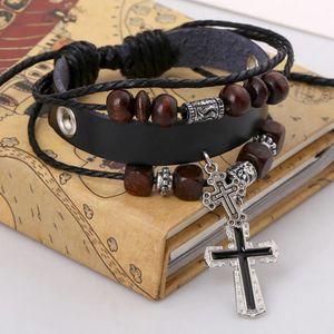 BRACELET - GOURMETTE Vintage le pendentif croix multicouche perles tres