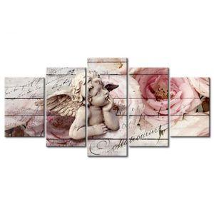 TABLEAU - TOILE Tableau mural Chérubin pensif fleurs fond bois rét