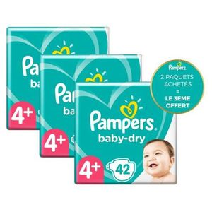 COUCHE Pampers Baby-Dry Taille4+, 42Couches - Lot de 3