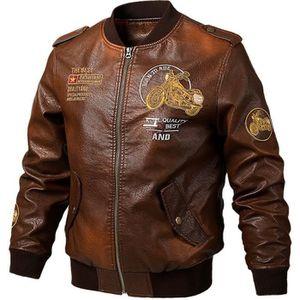 BLOUSON Blouson en Cuir Homme Manteau de Moto Bomber Veste