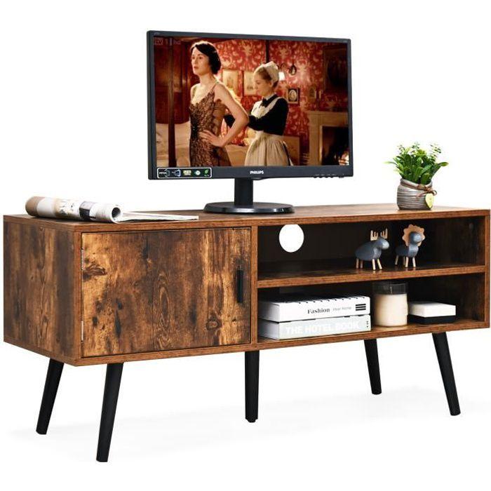COSTWAY Meuble TV, Style Industriel-110 x 39,5 x 50,5 CM-pour TV Jusqu'à 42 Pouces, avec 1 Portes et 2 Étagères Marron Rustique