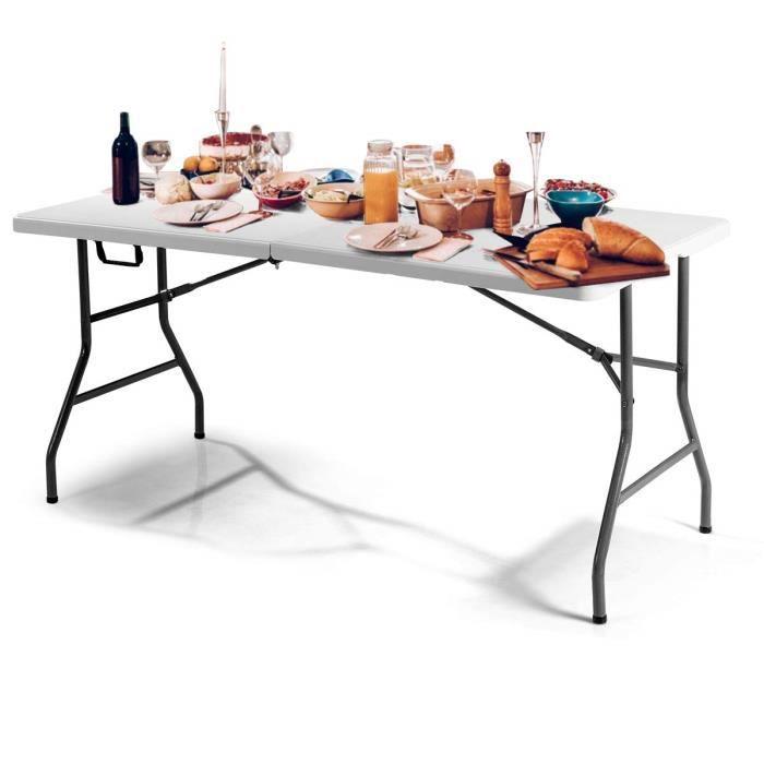 Goplus Table Pliante Plastique Matière en HDPE et Acier Robuste avec Serrures Renforcées Pieds Antidérapants 153 x 74 x 74 CM