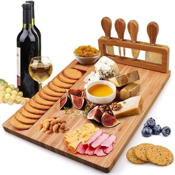 Planche à Découper Bambou Naturel,Couteau à fromage Trancheuse à fromage Fourchette Scoop Cut ,Cuisine Outils de cuisson
