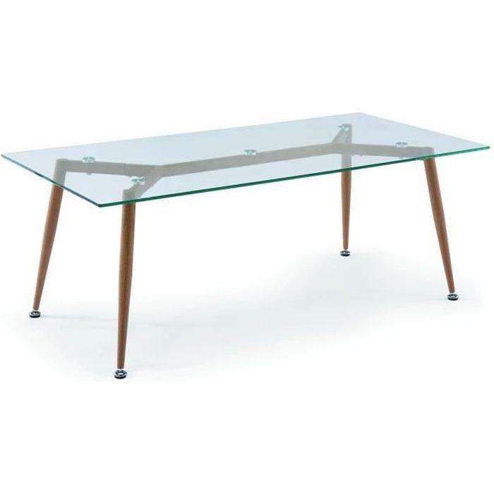 Table basse en verre pieds en bois NYBRO