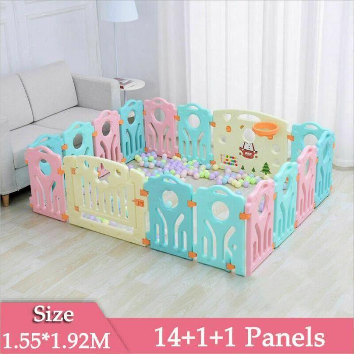 Parc bébé plastique pour la sécurité d'enfants barriere maison intérieur - extérieur - Jardin (Multicolore, 14+2 Panels)
