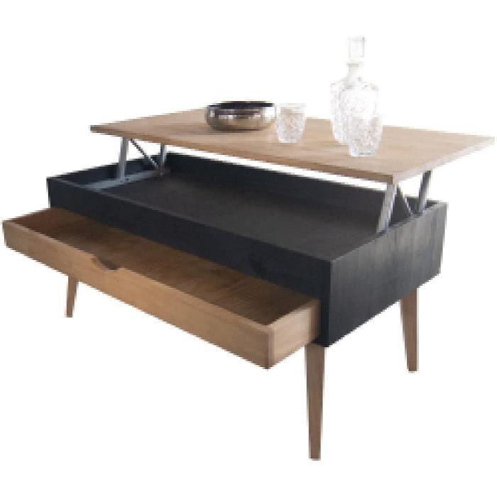 LoMasCasa Sonka Table basse relevable avec tiroir coulissant e ois naturel massif Disponible en couleur bois et base en noir ave73