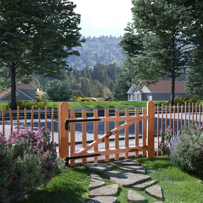 Portillon de clôture Bois de noisetier imprégné 100 x 60 cm Haute qualité Contemporain Pour Maison Jardin®HLYZQZ®