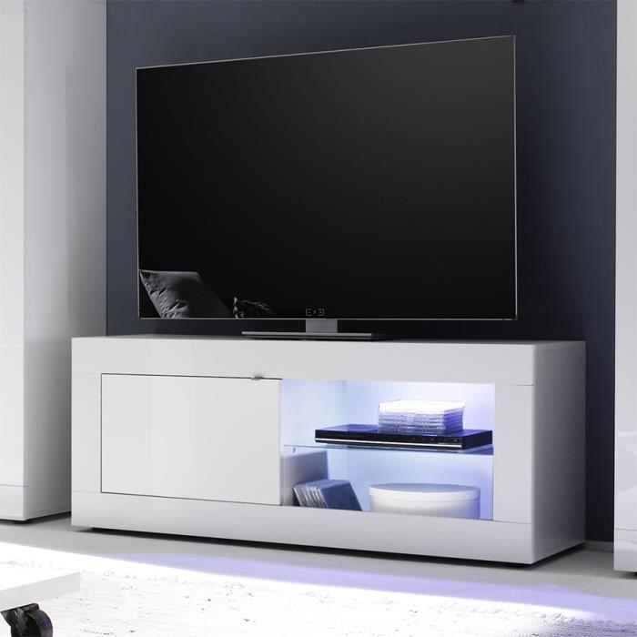 Meuble tv 140 cm blanc laqué design FOCIA 2 Avec éclairage Blanc