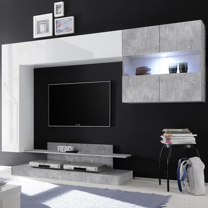 Meuble TV suspendu led design blanc laqué et gris PICERNO Blanc L 248 x P 42 x H 175 cm