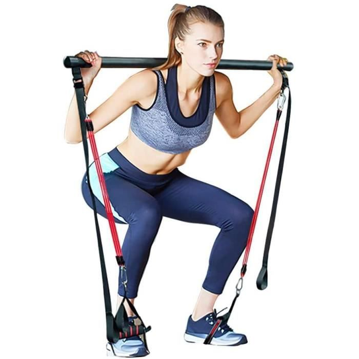 LJBOZ Reacuteglable Barre de Pilates pour Elastique Musculation, Hipsline Body Sculpt, Pilateuse Kit avec Bande Elastique Fitness p