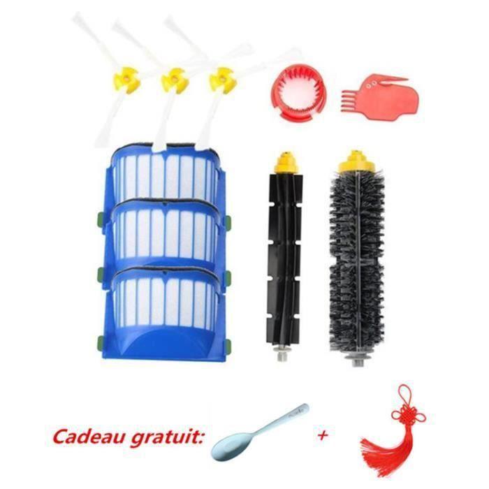 Kit brosse pour iRobot Roomba série 600 – Kit de 10 pièces accessoires (Brosses Latérale, filtres, brosse etc..) pour aspirateur rob