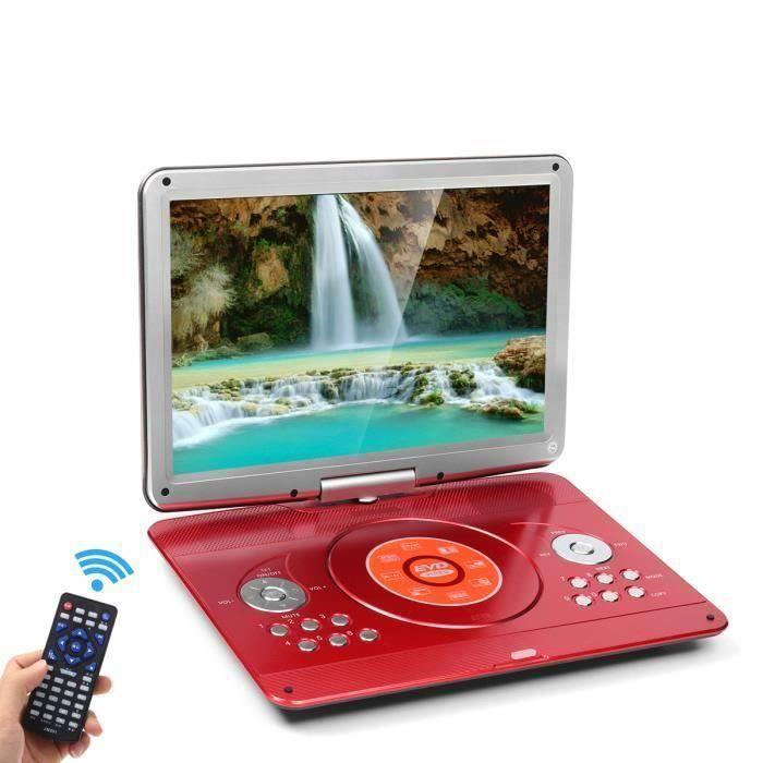 TEMPSA Lecteur DVD Portable 16'' Voiture Rechargeable 270° Rotatif MP4 Rouge + Télécommande