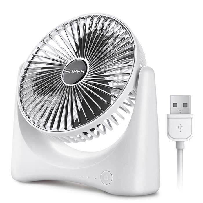 Mini ventilateur de bureau silencieux - 3 vitesses - USB alim - pour lit étudiant - bébé ventilateur - argent