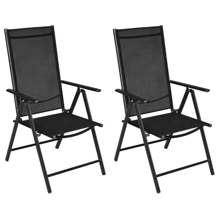 SOLDES-3145Lot de 2 Chaises pliables de jardin Fauteuil de Jardin Chaises de Camping Chic & Moderne Aluminium et textilène Noir