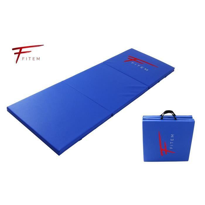 Fitem Tapis de Sol Pliable Epais Haute Gamme Taille 180 x 60 x 4 cm avec Poignets de Transport pour Gym,Yoga,MMA, Sport, Gymnasti