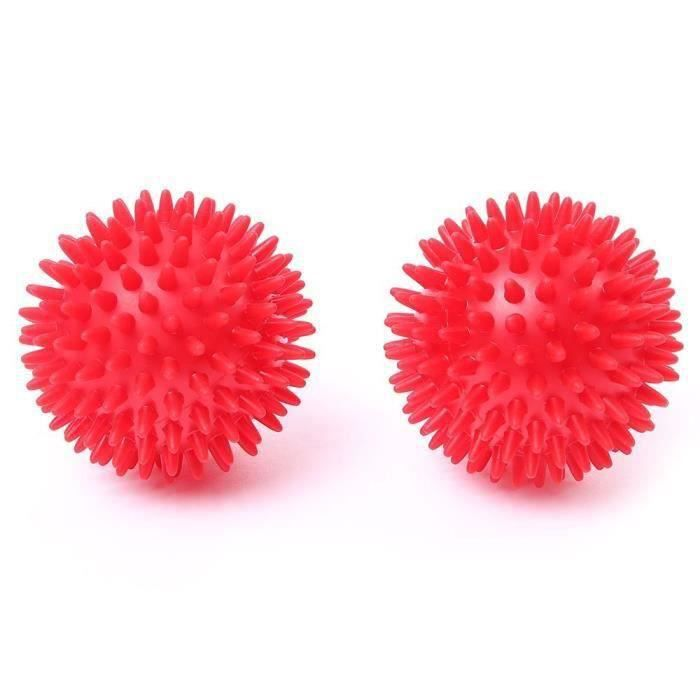 Lot de 2 Balle Massage Picots, Boule de Massage Spikey, Elimine Tensions et Stress pour Pieds, Dos, Epaules, 8cm