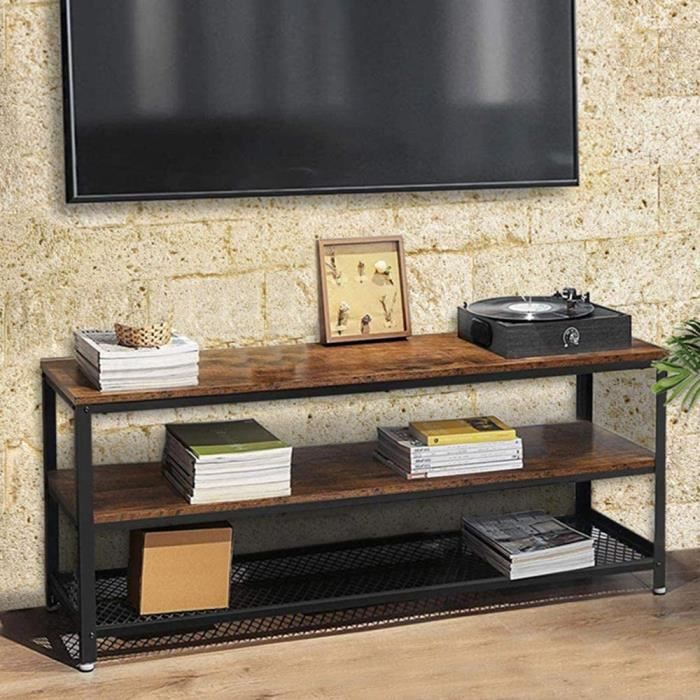 Meuble TV en Bois MDF et métal avec 2 étagères, Porte Console vidéo, DVD, Meuble Porte-téléviseur, Design Moderne, Industriel, Dimen