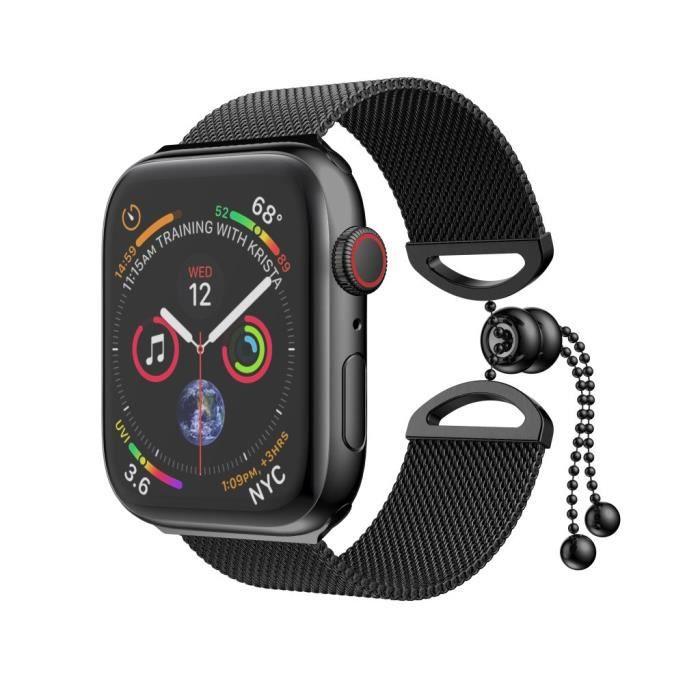 Bracelet De Montre Vendu Seul En Acier Inoxydable Milanais Pour Apple Watch Series 40 Mm Fqq90320106Bk_Bd