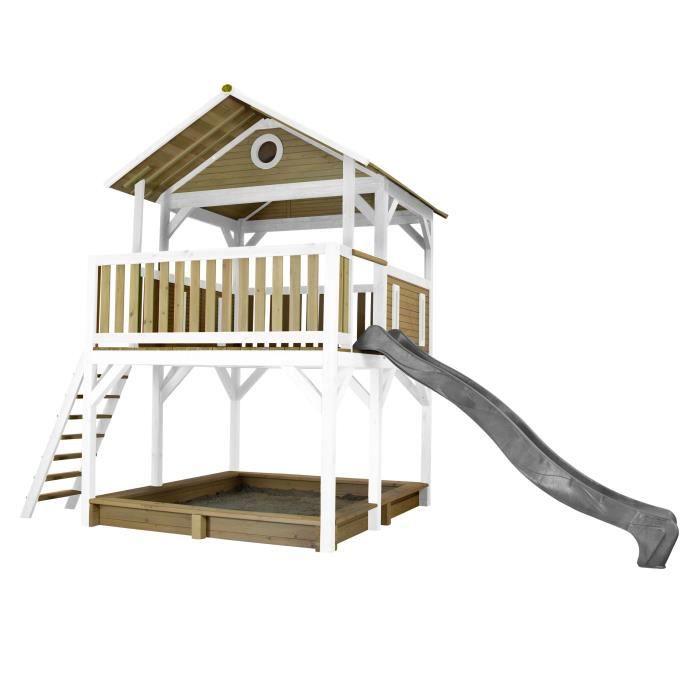 AXI Simba Maison Enfant avec Bac à Sable & Toboggan gris - Aire de Jeux pour l'extérieur en marron & blanc - Maisonnette / Cabane de