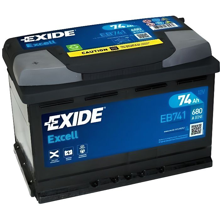 BATTERIE AUTO EXIDE EXCELL 74AH 680A 12V
