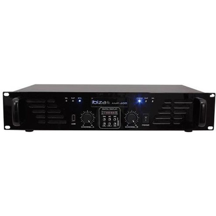 IBIZA SOUND AMP300USB-BT Amplificateur de sonorisation avec Bluetooth USB - 2 x 240W - Noir