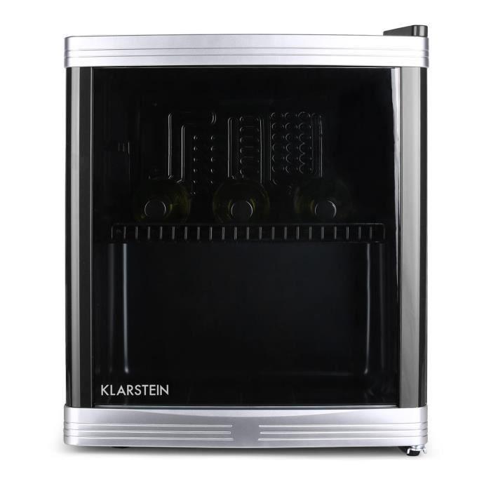 Klarstein Beerlocker - Mini-réfrigérateur 46L - cave à vin pour conservation de bouteilles (Classe B, 42dB, porte transparente)