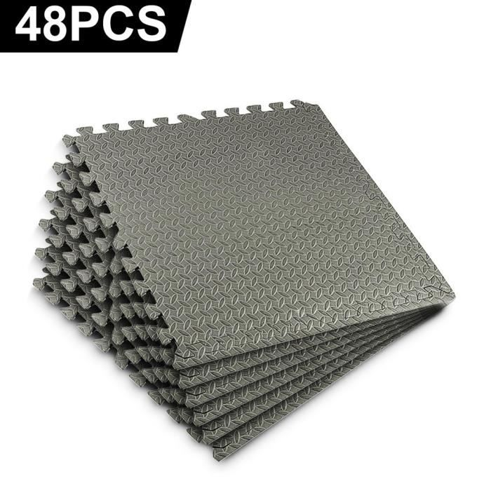 48 PCS Coussin EVA tapis de sol de gymnastique de carreaux, Tapis de sport