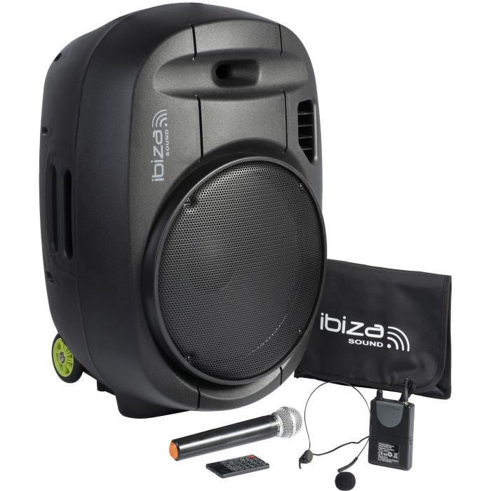 "IBIZA PORT15VHF-MKII - Système enceinte de sonorisation portable autonome 15""/38CM AVEC USB, Bluetooth et 2 micros VHF"