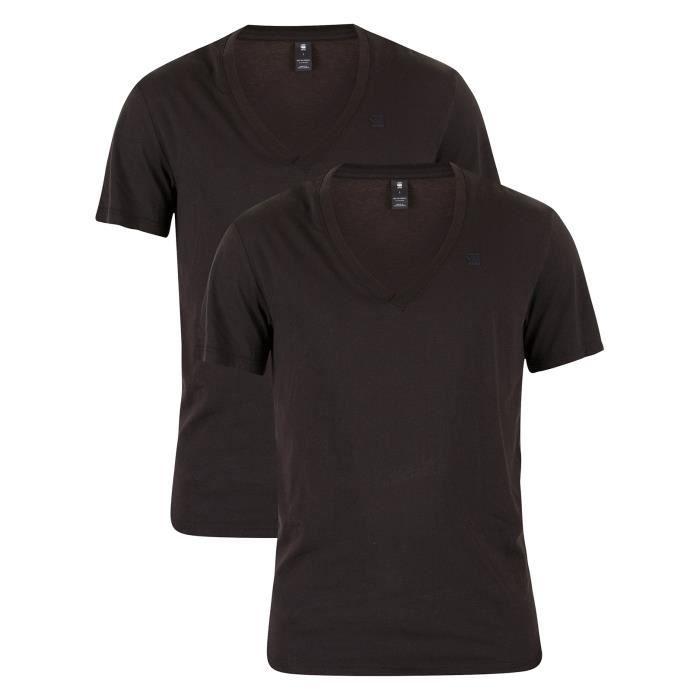 G-Star Homme 2 Pack V-Neck Logo T-Shirts, Noir