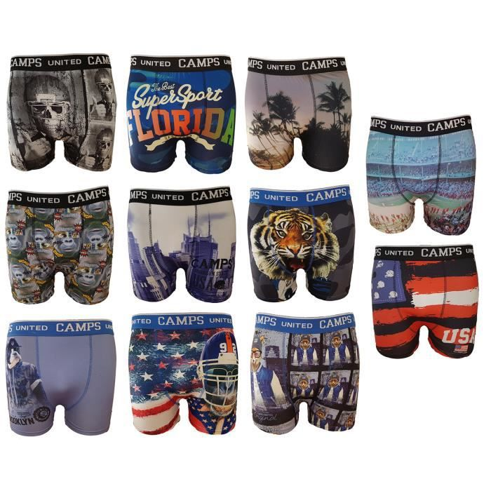 Boxer homme Camps United fantaisie imprimé -Assortiments modèles photos selon arrivages- Pack de 6 Surprise en microfibre