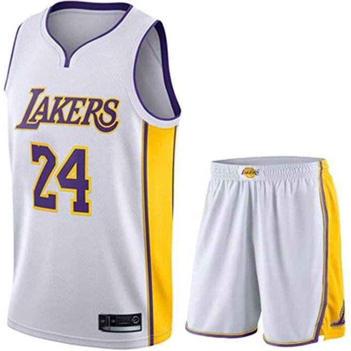 Maillot de Basket Ball Los Angeles Lakers #24 Kobe Bryant (Maillot + Shorts)Homme Basketball Pas Cher Blanc