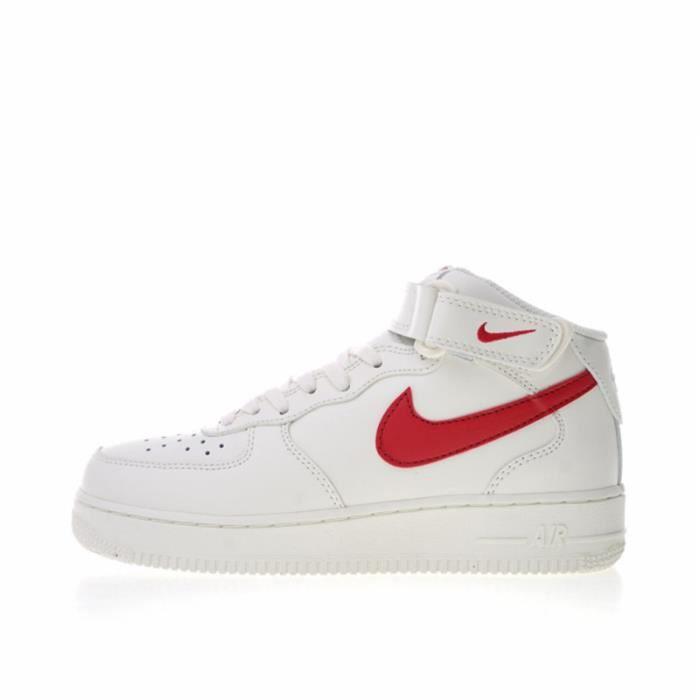 Baskets AIR Original Force 1 Mid '07 blanc-rouge 314195-126 Chaussures de Running Homme-Femme