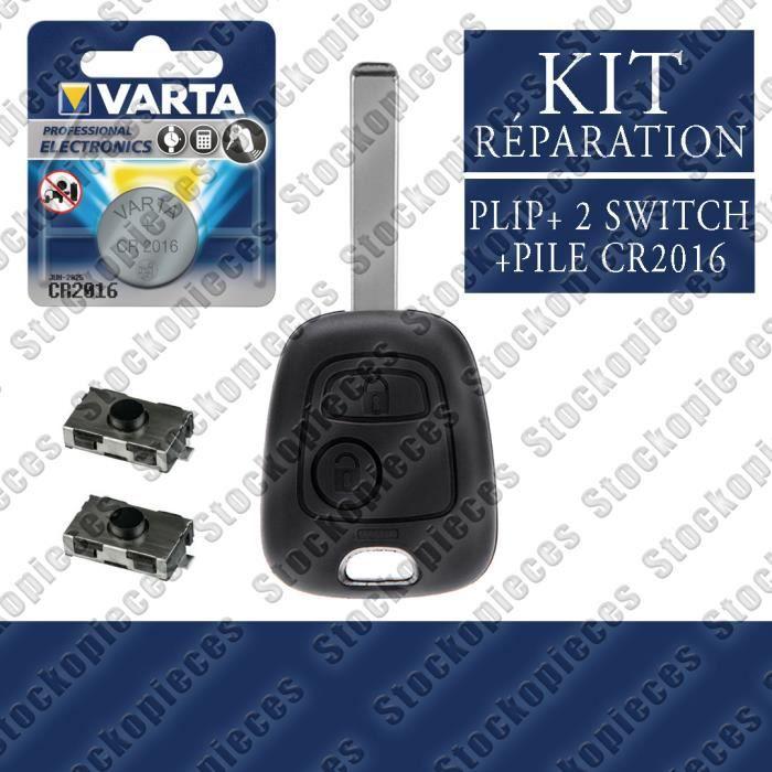 KIT RÉPARATION DE CLE PLIP TÉLÉCOMMANDE COMPATIBLE CITROEN C1 C2 C3 C4 C5 C8 / 2 Switch Bouton + Pile VARTA