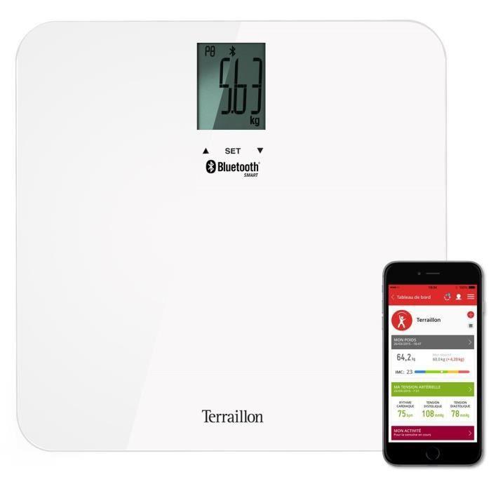 Terraillon Balance Connecté 8 Mémoires Utilisateurs Bluetooth 160kg Web Coach Form Blanc