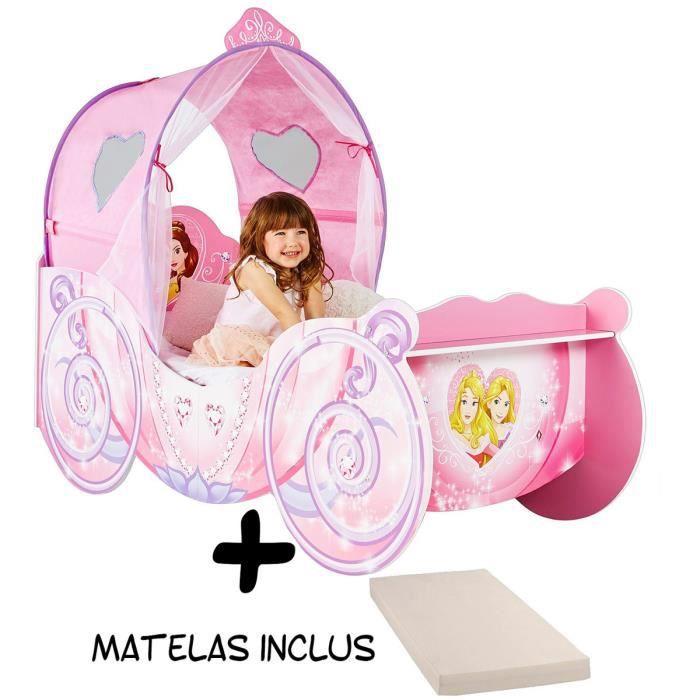 Lit carrosse Légende Princesse Disney + Matelas
