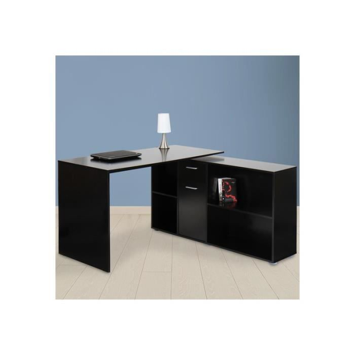 bureau d 39 angle noir achat vente bureau bureau d 39 angle noir cdiscount. Black Bedroom Furniture Sets. Home Design Ideas
