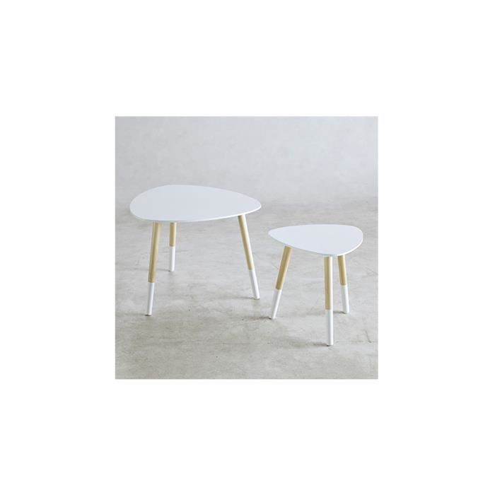 Lot 2 tables basses blanc brillant soko blanc achat vente table basse lot - Table basse blanc brillant ...