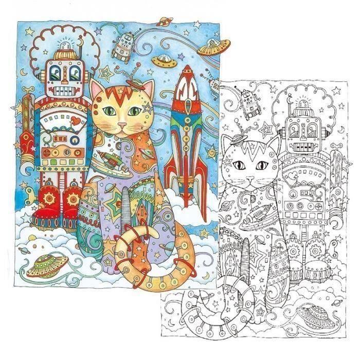 Coloriage Chat Pour Adulte.Livre De Coloriage Chat Cahier De Barbouillage Decompression Anti Stress Coloration Jouet Pour Enfants Adultes D044ff