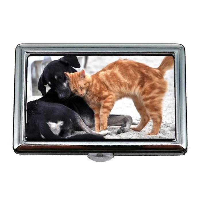 Cigarette Case Box Chien Chat Animaux Domestiques Gata Kitten Animal Porte Cartes De Visite