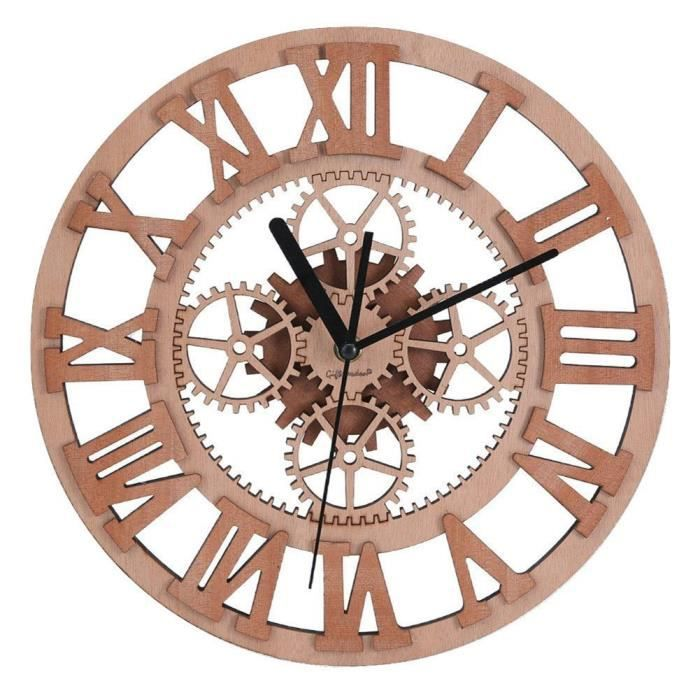 giftgarden horloge murale en bois design silencieux engrenage vintage achat vente horloge. Black Bedroom Furniture Sets. Home Design Ideas