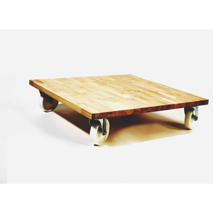 Pin table basse en bois massif et fer forg occasion table for Table bois massif industriel